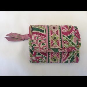 Vera Bradley Petite Trifold wallet, Pink and Green